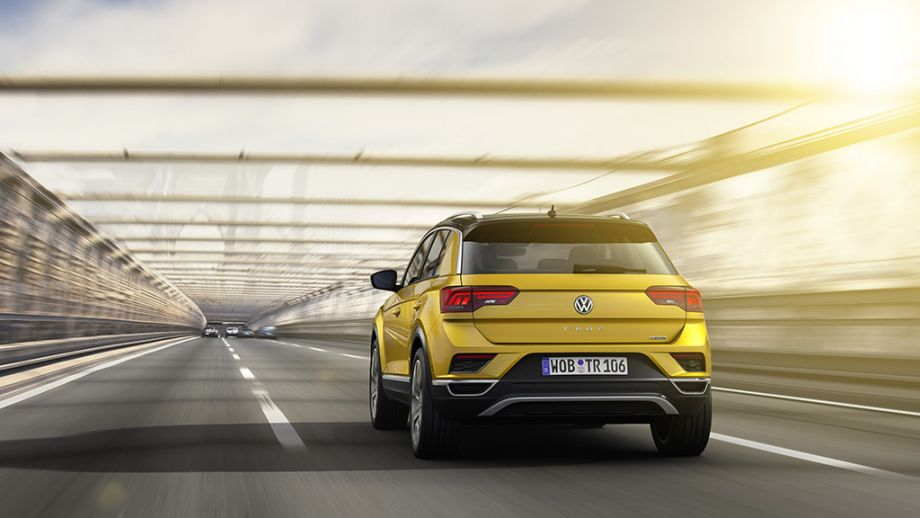 VW T-Roc SUV gelb Heck